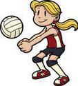 Niña jugando voleibol. Niña y voleibol en capas separadas para facilitar la edición.