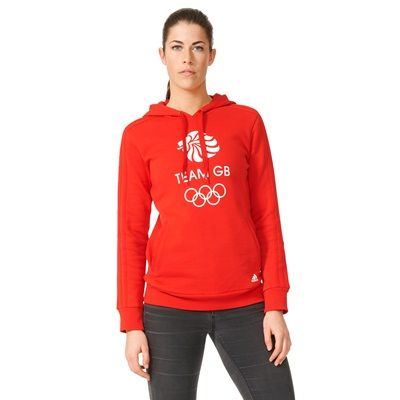 Team GB Big Logo Hoodie - Womens - Vivid Red/White