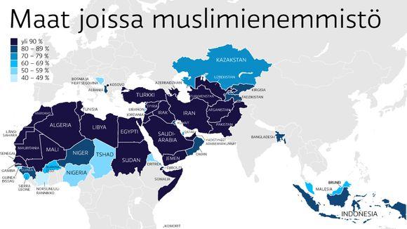 Kartta maailman maista, joissa on muslimienemmistö.