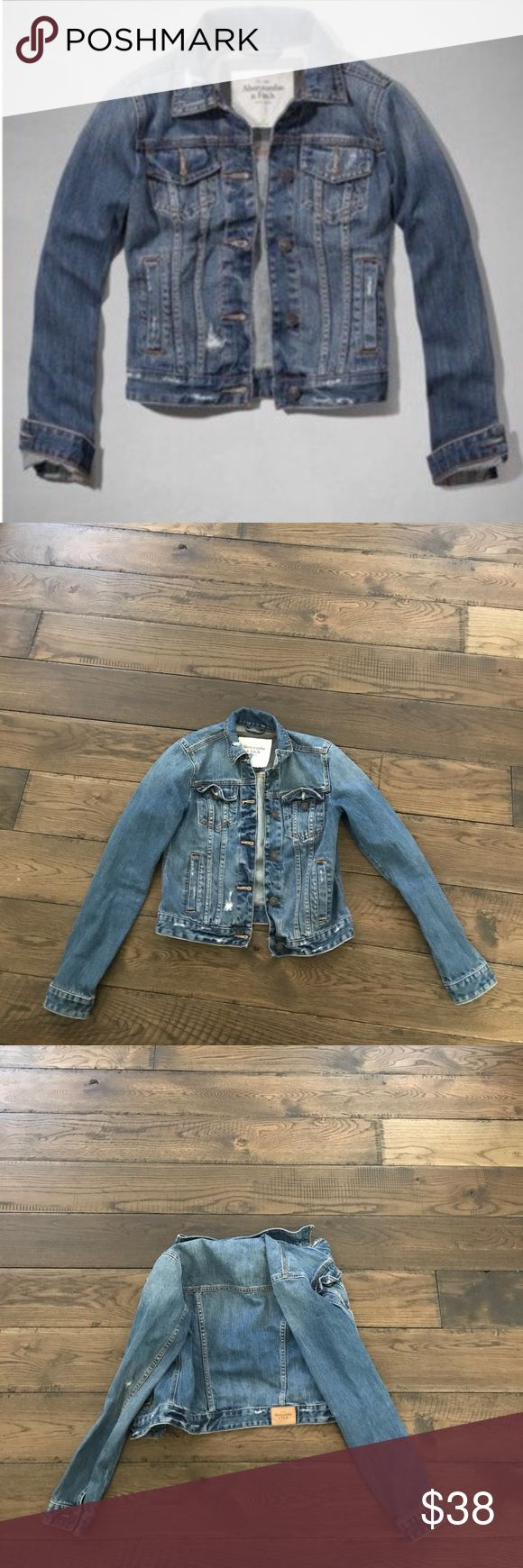 Abercrombie and Fitch Jean jacket- size medium Medium wash, distressed jean jacket. In perfect condition, looks like it was never worn! Size M. Abercrombie & Fitch Jackets & Coats Jean Jackets