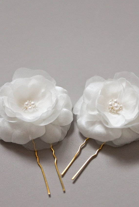 JASMINE silk flower hair pins bridal hair flowers by percyhandmade #etsy
