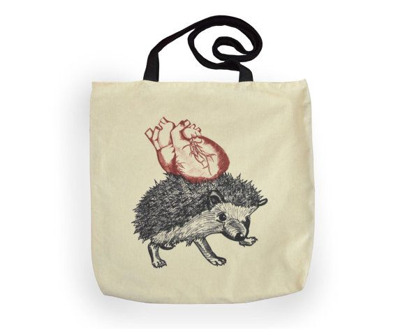 Tote Bag hedgehog sketch anatomic heart fairtrade by YapokBags