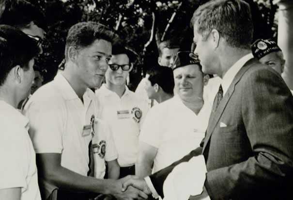 A young Bill Clinton meets John F Kennedy