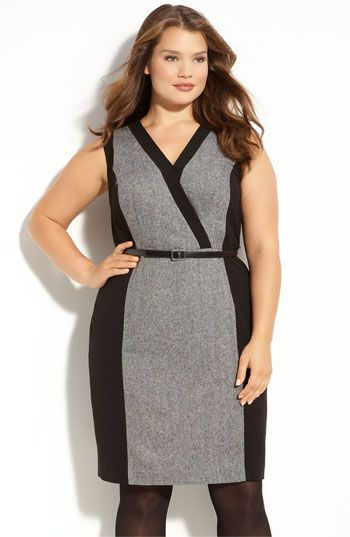 Calvin Klein dress. Add a black cardi and a wedge bootie or colored pump for work. plus size fashion