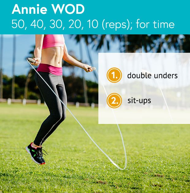Annie WOD: double unders and sit-ups for time. #CrossFit #Annie #WOD