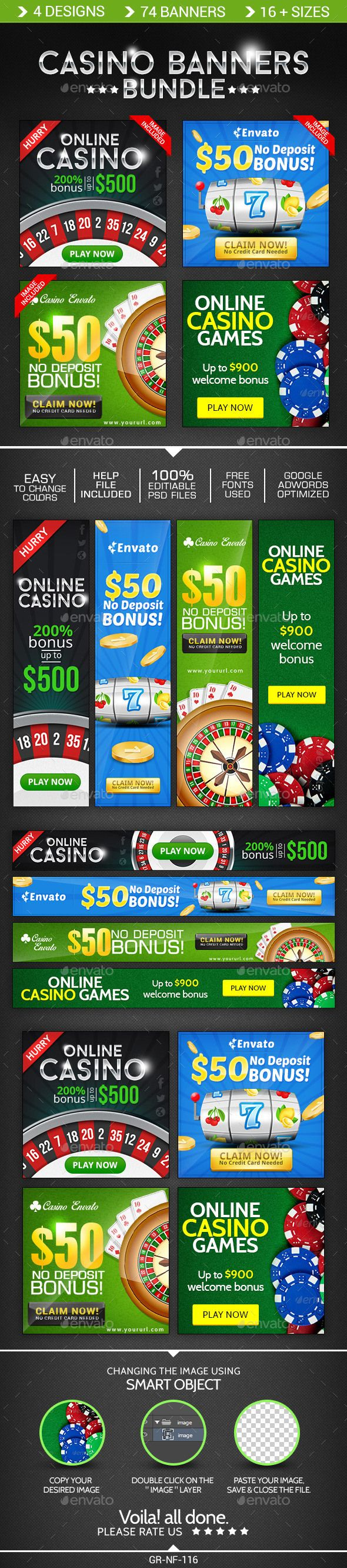 Casino Banner Design Bundle helps in promoting your Products and services related to casino & Gambling. The package also comes with a help file & Editable PSDs.