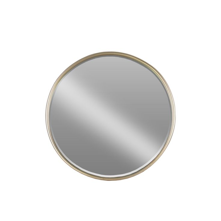 Urban Trend Collection Coated Champagne Metal Small Round Mirror With Tubular Frame and Window Box