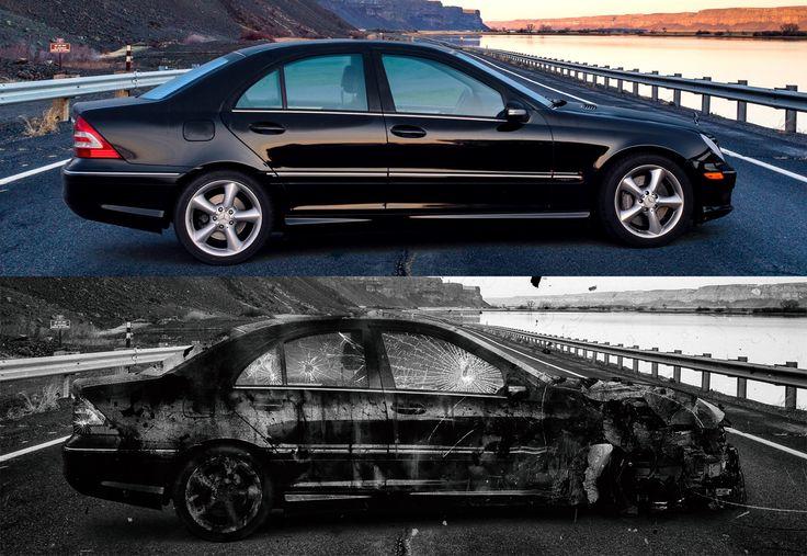 Crashed Car Photo Manipulation