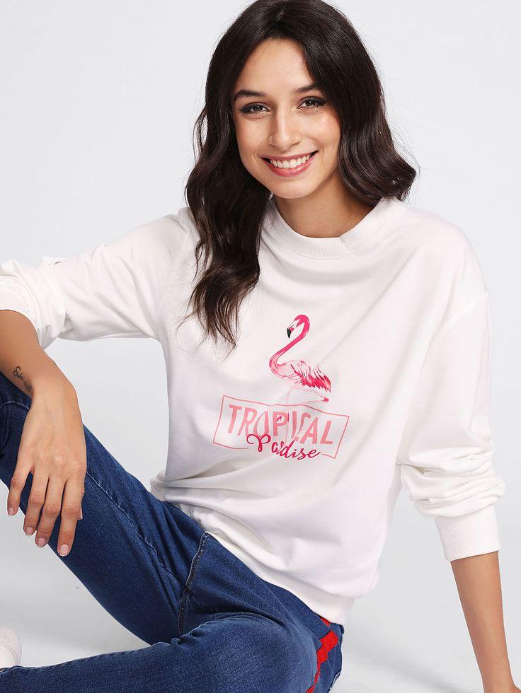Shop Flamingo Print Sweatshirt online. SheIn offers Flamingo Print Sweatshirt & more to fit your fashionable needs.