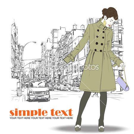 Moda dziewczyna na ulicy tle. ręcznie rysowane wektorowej — Ilustracja stockowa #22375119