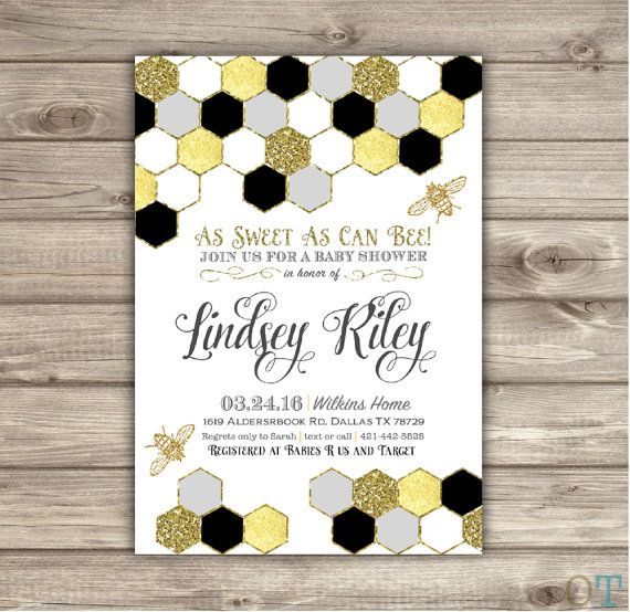 Mom to Bee Baby Shower Invitations Grey and Gold Faux Glitter