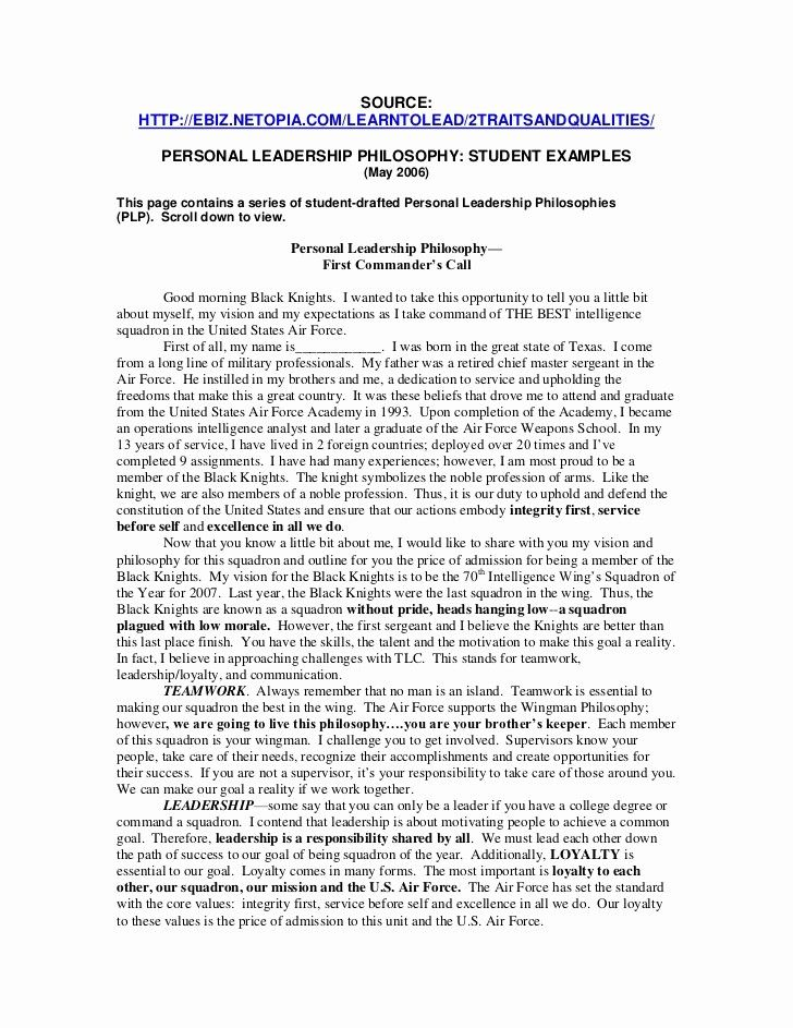 Personal Philosophy Essay Elegant Leadership Dissertation Reflective Example About