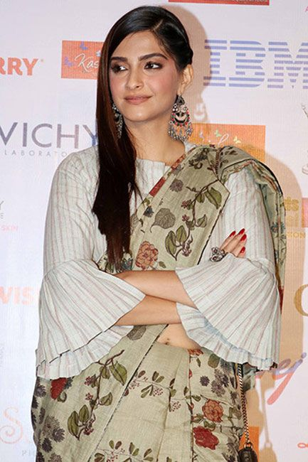 Check out her blouse and earrings!. Read more http://fashionpro.me/sonam-spotted-anavila-misra-kashish-film-festival