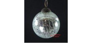 Χριστουγεννιάτικη Μπάλα Φυσητό Γυαλί 8cm Silver 19489