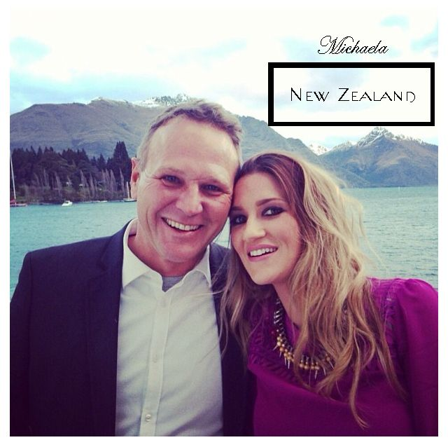 Michaela Byrnes and her man enjoying the views of New Zealand! Caels wears her Olympia necklace