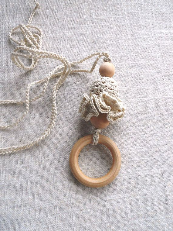 Wooden Teething Ring Crochet Teething Necklace by sweetshtuchky