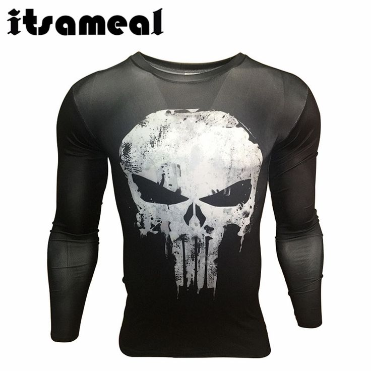 Itsameal Punisher Costumes Compression Men's Long Sleeve T-Shirts 3D Printed Raglan Homme Slim Fashion Tops Tees for Male #Affiliate