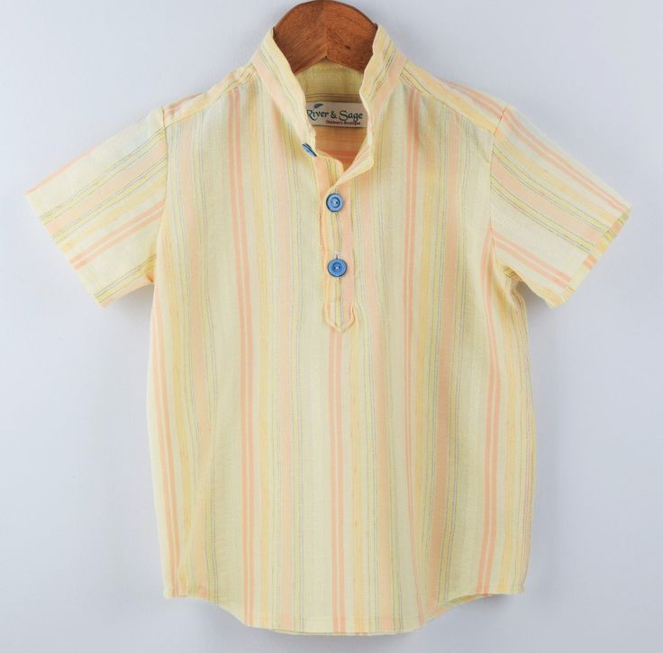 Handmade toddler and boys cotton button up shirt. Soft textured cotton with 3 buttons and grandpa style collar.