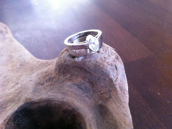 Get This! 14kt White Gold Marquise Engagement Ring Recycled Eco Friendly Wedding Jewelry Conflict Free Diamonds by www.MelissaTysonDesigns.etsy.com