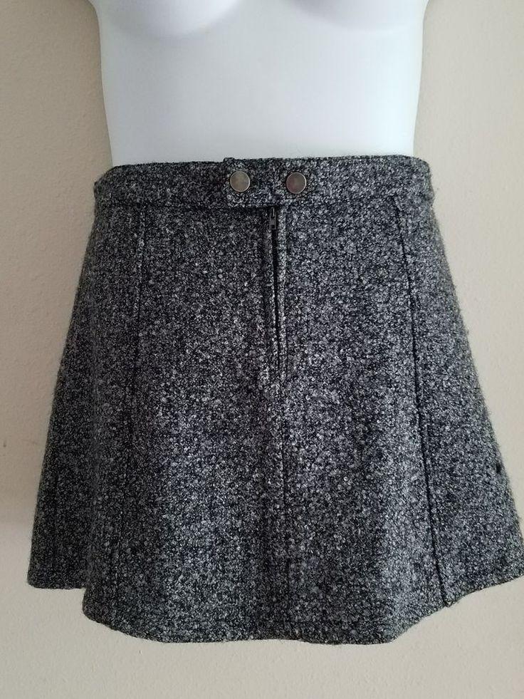 Womens Six Crisp Days Tweed Skirt - size Large- Gray Wool Blend- EUC #SixCrispDays #FlareSkirt