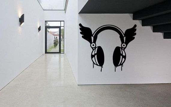 Removable Vinyl Sticker Mural Decal Wall Decor Poster Showcase Electronic Dance Music EDM Wings DJ Cool Headphones Love Sound Stereo F1957
