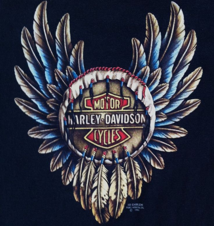 Harley Davidson 3D Emblem Large Feather Dreamcatcher T Shirt Black 1991 90s Vintage