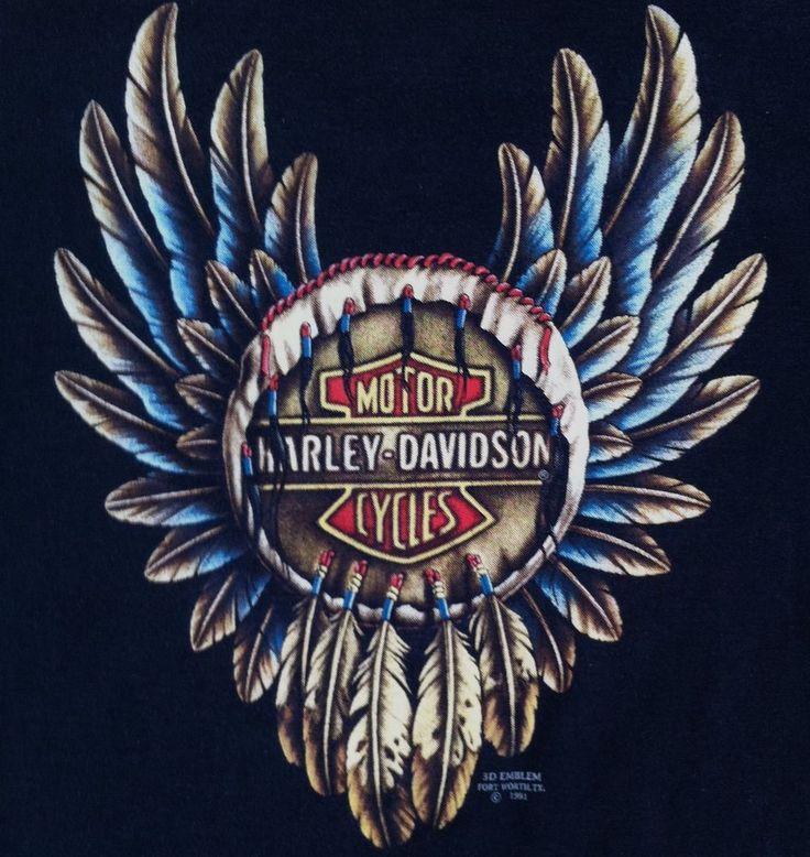 Harley Davidson 3D Emblem Large Feather Dreamcatcher T Shirt Black 1991 90s Vintage