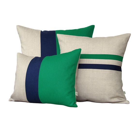 Colorblock Stripe Pillow Set - Emerald & Navy Blue Striped Pillow and Color Block Pillow Set by JillianReneDecor (Set of 3)