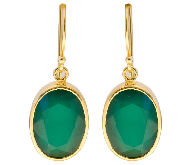 Green Chalcedony Sterling Silver Oval Drop Earrings by RalphTaylorDesigns on Etsy