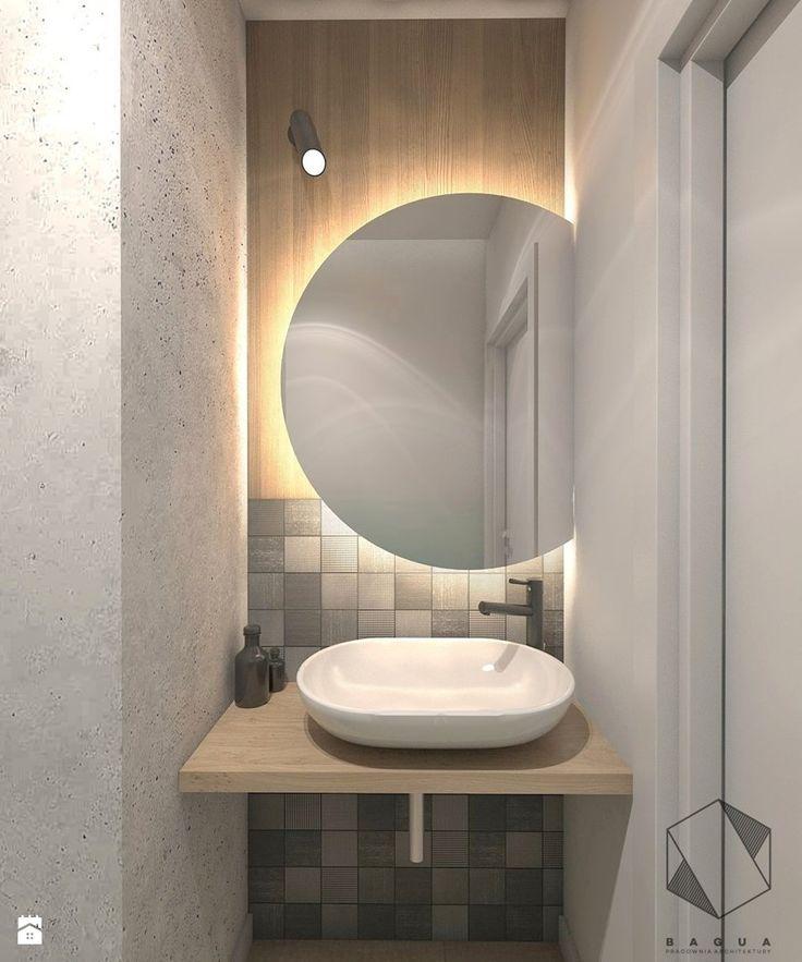 (Łódź) Projekt mieszkania 4 - Mała łazienka na poddaszu w bloku w domu jednorodzinnym bez okna, styl nowoczesny - zdjęcie od BAGUA Pracownia Architektury Wnętrz