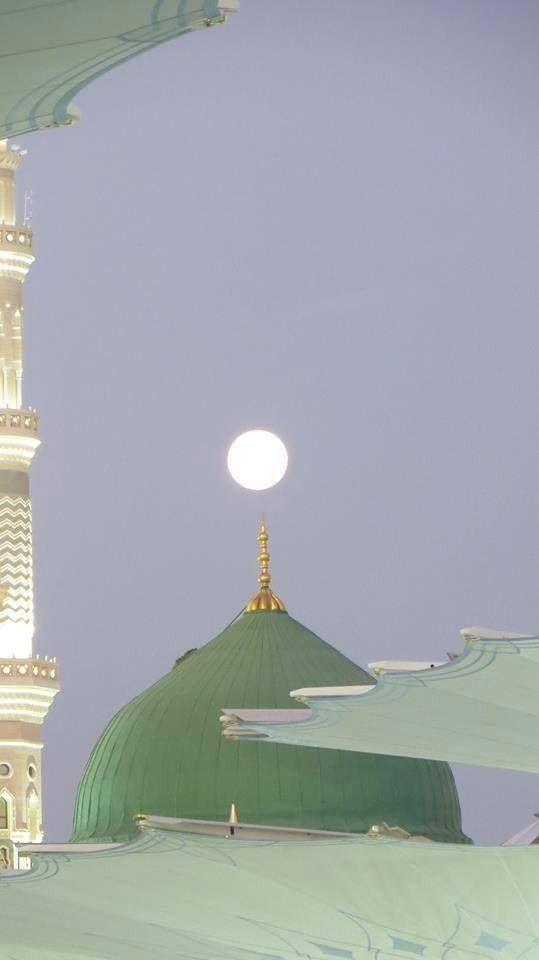Moon above dome, Al Masjid Al  Nabawi