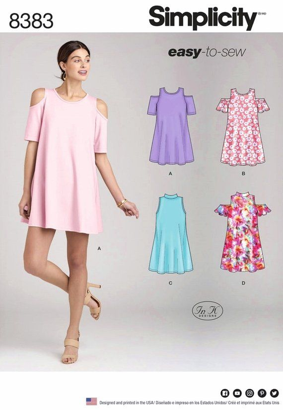 Sewing Pattern Misses Tunic Dress Pattern, Bare Shoulder Trapeze ...