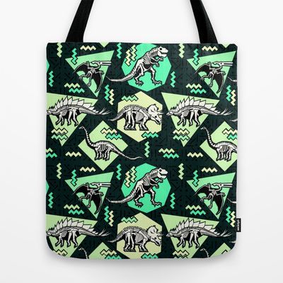 90's+Dinosaur+Skeleton+Neon+Pattern+Tote+Bag+by+chobopop+-+$22.00