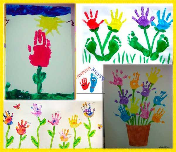 Fiori colorati con Impronte - 4 Idee