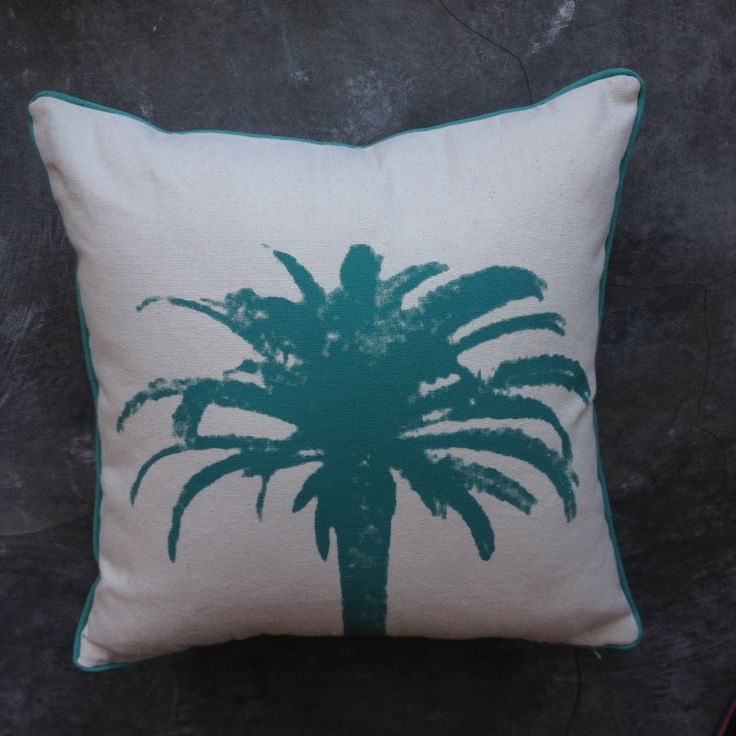 Aqua Palm Tree On Canvas   Bungalow Living Bali