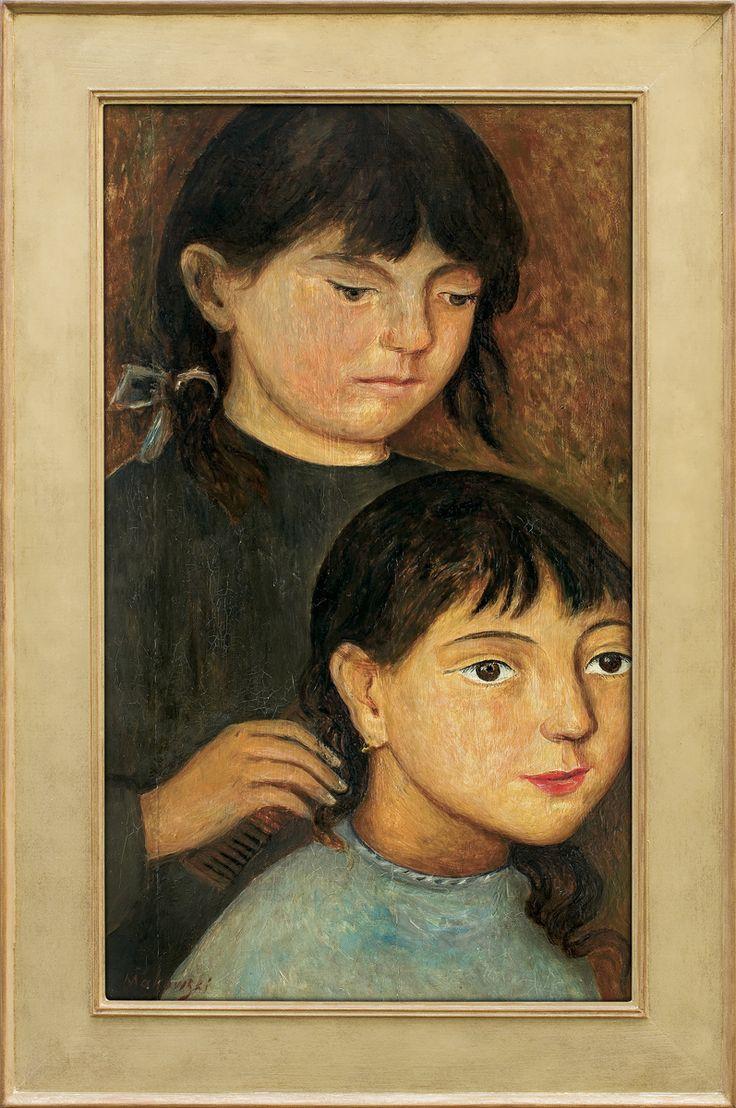 Tadeusz Makowski: Dwie dziewczynki, o. 1920 r., olej, deska, 47,5 x 28 cm