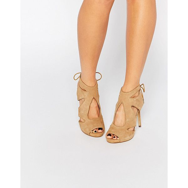 KG By Kurt Geiger Hattie Nude Suede Heeled Sandals ($105) ❤ liked on Polyvore featuring shoes, sandals, beige, nude high heel sandals, nude shoes, suede sandals, laced sandals and high heeled footwear