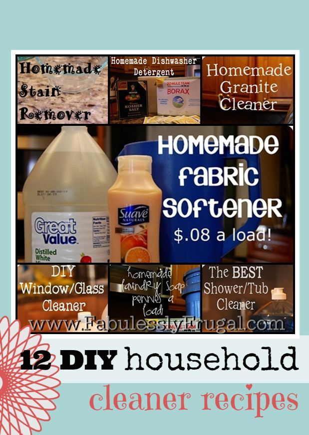 List of several homemade DIY cleaner recipes including homemade fabric softener, homemade stain remover, homemade tub or shower cleaner, and more!  www.FabulesslyFrugal.com