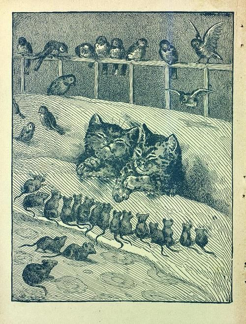 While the cats are asleep, the birds and mice are safe! Page from unknown book.