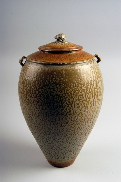 Richard Aerni & Michael Frasca  |  Lidded vase, with tobacco spit glaze.