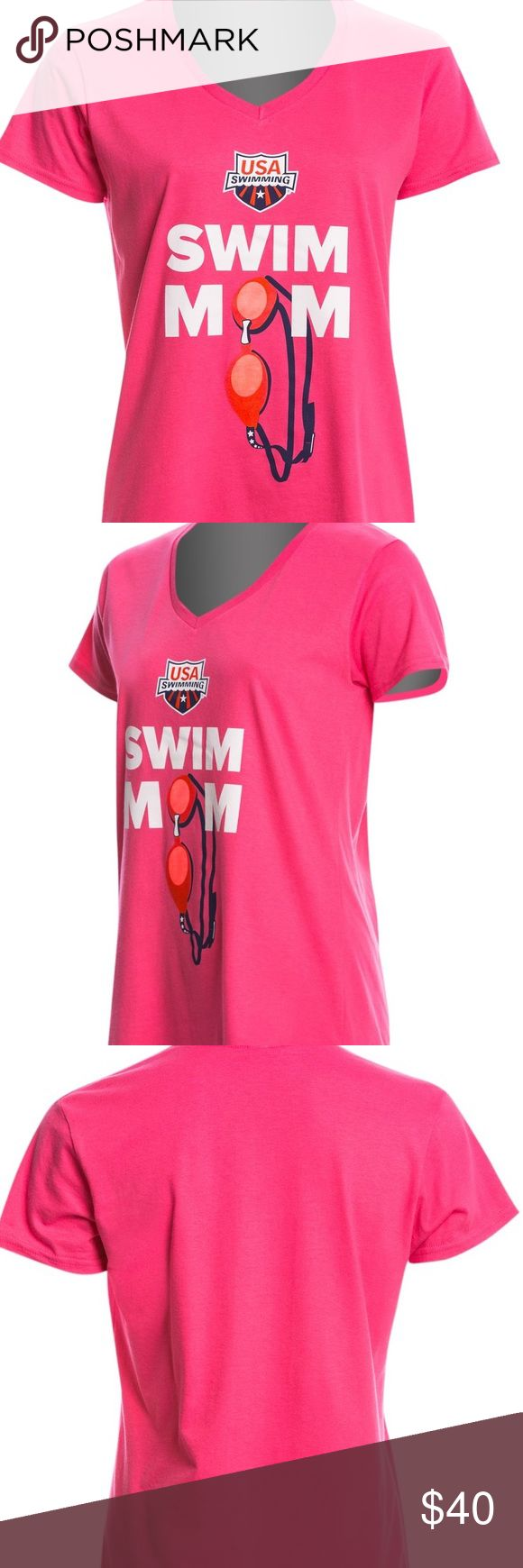 Gray Swim Mom V-neck Short Sleeve Tee. USA SWIM Gray Swim Mom V-neck Short Sleeve Tee. USA SWIM. Sz. Small. Give a loud and proud show of support for Team USA in the USA Swimming Women's Swim Mom V-Neck T-Shirt. A stylish v-neck design and comfortable ringspun cotton make this a great choice for extended comfort for casual purposes. Fabric 100% Ringspun Cotton. Features Screen printed graphic on front. Short sleeve shirt. V-neck style neckline. Officially licensed. Tops Tees - Short Sleeve