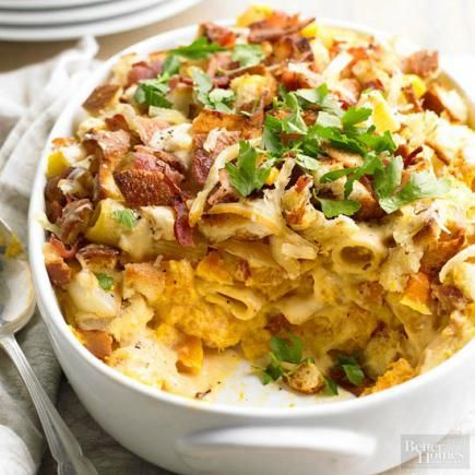 Butternut Squash Mac and Cheese - omit bacon for a veg version...