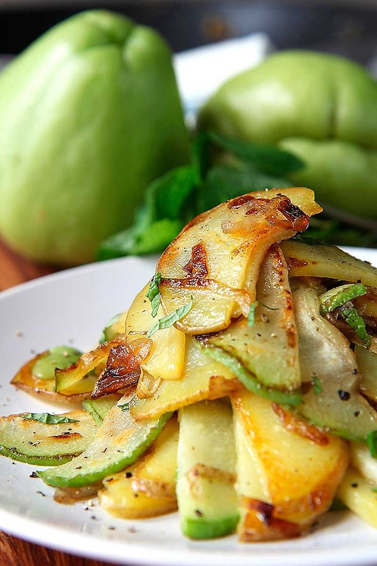 Sauteed Chayote Squash and Potatoes with shallots and mint