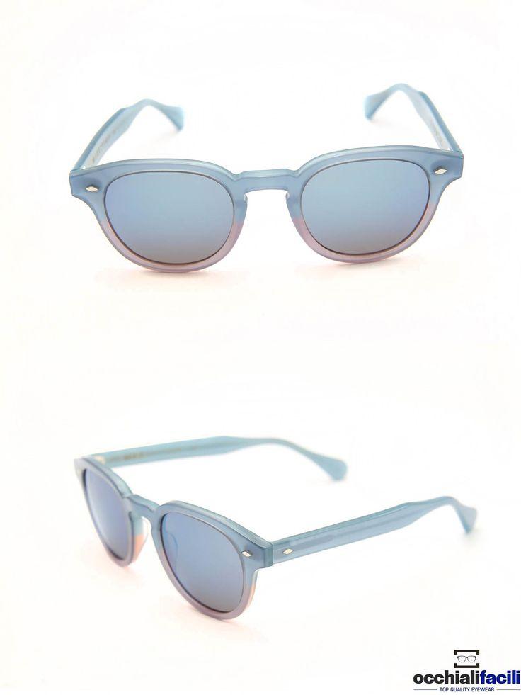Occhiali da sole G-Sevenstars Marettimo BZ in celluloide celeste sfumato con ponte a chiave e forma tonda. http://www.occhialifacili.com/prodotto/occhiali-da-sole-g-sevenstars-marettimo-n/