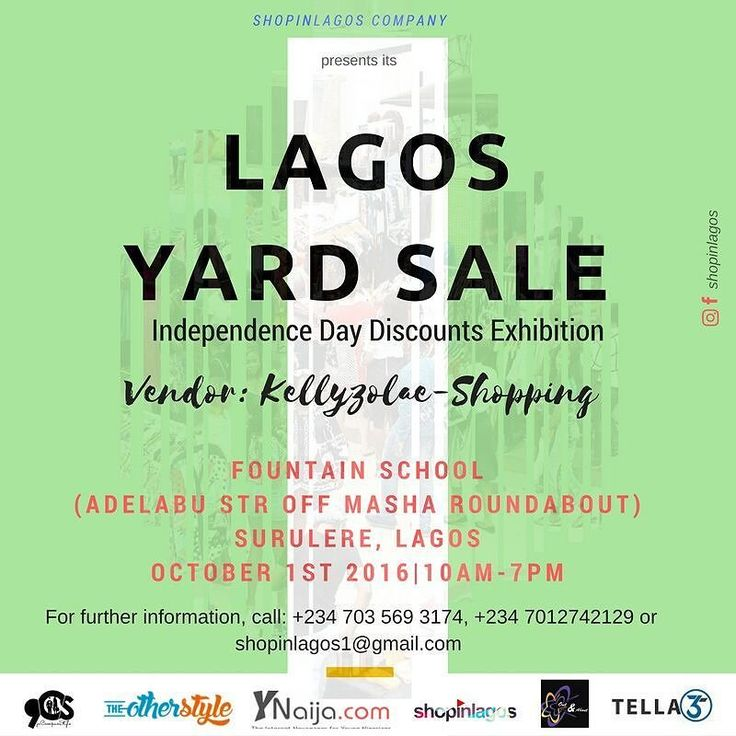 5 days to the #LagosYardSale Independence Day Exhibition  We cant wait to see what @kellyzolaeshopping has in stock  Be a part of of our vendors by booking a stall and get 20% off discount call 0703 569 3174 07012742129  #shopinlagos #SMEsinNigeria #outndaboutng #buynigerian #madeinnigeria #discounts #exhibition #lifestyle #fashion #food #drinks #beauty #kellyzolaeshopping