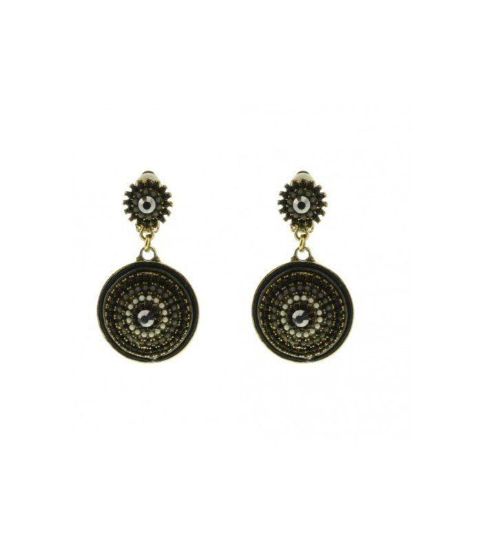 Grijze / antraciet,zwarte oorclips Lengte van de oorbellen is: 5,5 cm   EAN: 0000100800012   Behave sieraden