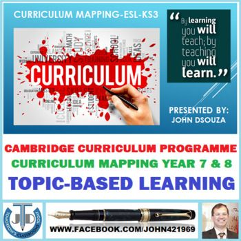A Presentation on CURRICULUM MAPPING-ESL-KS3 organized for quick referencing. This Presentation Includes: 1. Cambridge Curriculum Programme 2. Curriculum Mapping - Year 7 & 8 3. Topic-Based Learning - Year 7 & 8 Teachers can use this presentation as a ready reference material to prepare their