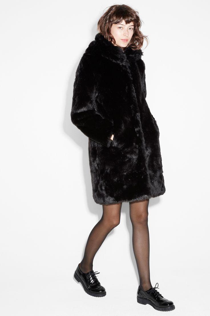 Monki Image 3 of Hooded fur coat in Black