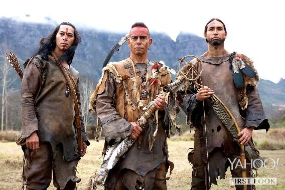 From left to right are Kalani Queypo (Squanto), Raoul Trujillo (Massasoit), and Tatanka Means (Hobbamock), members of the Pokanoket tribe. Massasoit is their leader, but faces troubling times after the plague decimates their numbers.