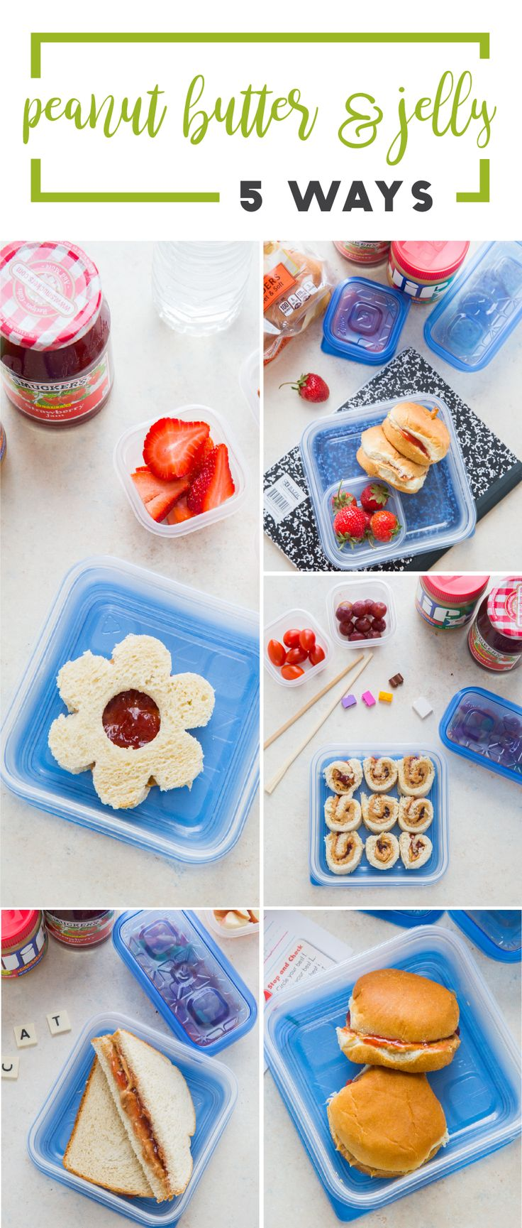 You can't go wrong with PB & J! Check out new ways to serve this classic lunch idea to your kids during back-to-school with help from this collection of 5 Peanut Butter and Jelly Recipes. Grab Pepperidge Farm® Whole Grain White Bread, Jif® Peanut Butter, Smucker's® Seedless Strawberry Jam, Ziploc® brand containers, and anything else you may need for meal prep inspiration at Meijer!
